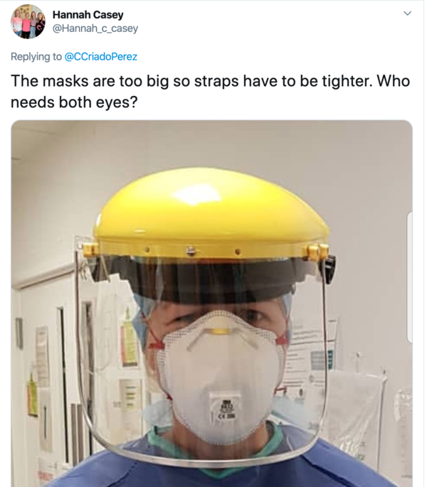 Image from Twitter of improperly sized PPE