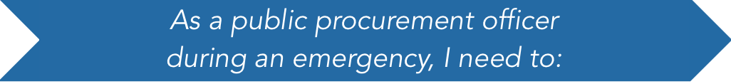 As a public procurement officer during an emergency, I need to: